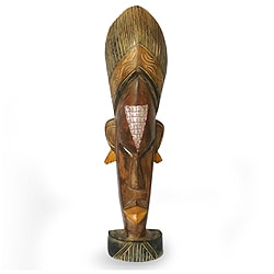 Handcrafted Sese Wood 'Beautiful Mind' Sculpture  , Handmade in Ghana