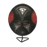 Handcrafted Sese Wood 'Wednesday's Girl' African Mask  , Handmade in Ghana