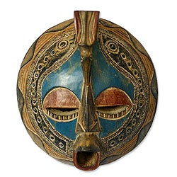 Faithful Love Akan Tribal Artwork Blue and Muticolor Paint with Embossed Aluminum Carved Sese Wood African Wall Art Mask (Ghana)
