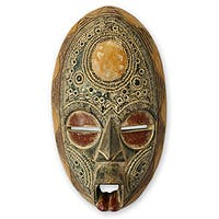 Handcrafted Sese Wood 'Only Good Thoughts' African Mask (Ghana)