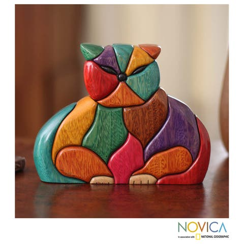 Handmade Patchwork Feline Lover Decorator Accent Bright Multicolor Puzzle Look Wood Animal Art Work Sculpture (Peru)