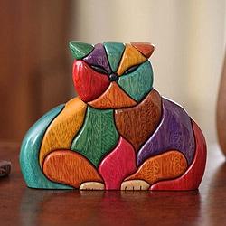 Patchwork Cat Year Round Feline Lover Decorator Accent Bright Multicolor Puzzle Look Wood Animal Art Work Sculpture (Peru)
