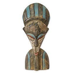Handcrafted Sese Wood 'She Empowers the Hunter' Sculpture (Ghana)