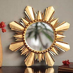 Handmade Mohena Wood and Bronze Leaf 'Sun of Cuzco' Wall Mirror (Peru)
