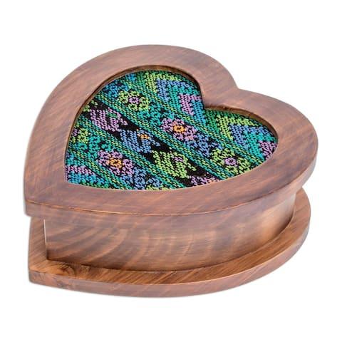 "Handmade Alder Wood Cotton 'Heart of Blue' Jewelry Box (Guatemala) - 7.5"" x 7.75"""