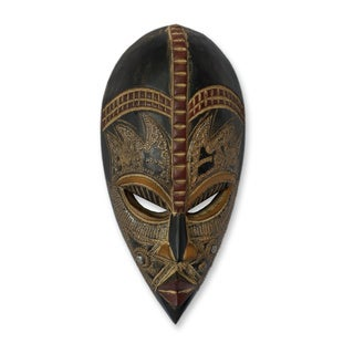 Handcrafted Sese Wood 'My Beautiful Lover' African Mask (Ghana)