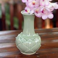 Handmade Celadon Ceramic 'Jade Lotus' Vase (Thailand)