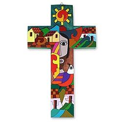Handcrafted Pinewood 'Custodian of Two Hearts' Cross (El Salvador)