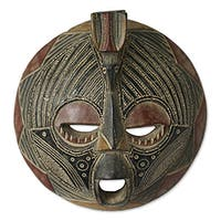 Handcrafted Sese Wood 'A Blessing' African Mask (Ghana)