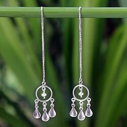 Sterling Silver 'Love Trio' Pearl Earrings (3 mm) (Thailand)