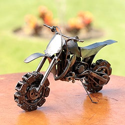 Handmade Recycled Auto Part 'Rustic Motocross Bike' Sculpture (Mexico)