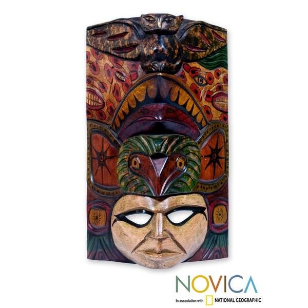 Handcrafted Pinewood 'Quetzal Jaguar Man' Mask (Guatemala)