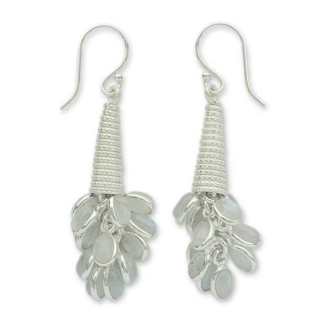 Handmade Sterling Silver Bouquet of Love Moonstone Earrings (India)