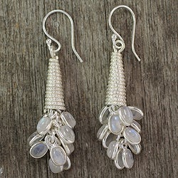 Sterling Silver 'Bouquet of Love' Moonstone Earrings (India)
