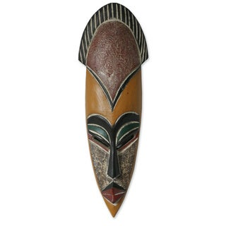 Handmade Sese Wood 'Protect the Jungle' African Mask (Ghana) - multi