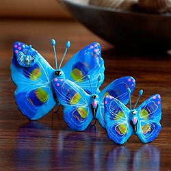 Handmade Set of 3 Ceramic 'Atitlan Butterflies' Sculptures (Guatemala)
