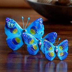 Handmade Set of 3 Ceramic 'Atitlan Butterflies' Sculptures (Guatemala)