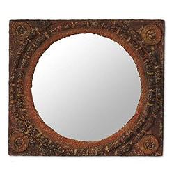 Handmade Sese Wood 'African Tradition' Mirror (Ghana)