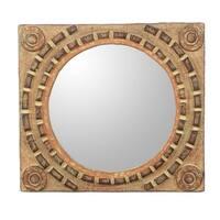Handmade Sese Wood 'African Tradition' Mirror (Ghana) - Brown