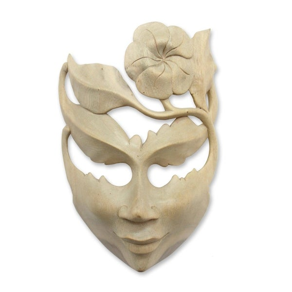Frangipani Summer Vintage Modern Art Handmade Artisan Designer Home Decor Accent Natural Hibiscus Wood Gift Mask (Indonesia)