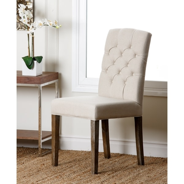 abbyson colin beige linen tufted dining chair free