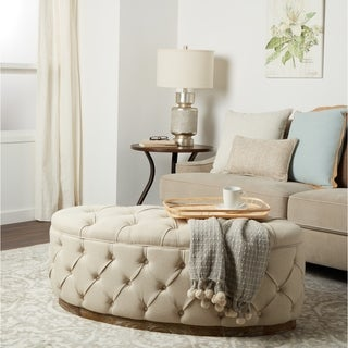 Link to Abbyson Colin Beige Linen Tufted Ottoman Bench Similar Items in Living Room Furniture