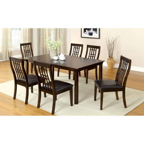 Furniture of America Aurora Transitional Walnut 7-piece Dining Table Set