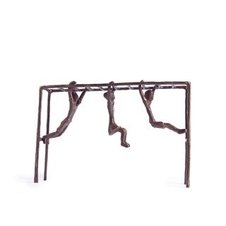 Children on Monkey Bar Bronze Sculpture