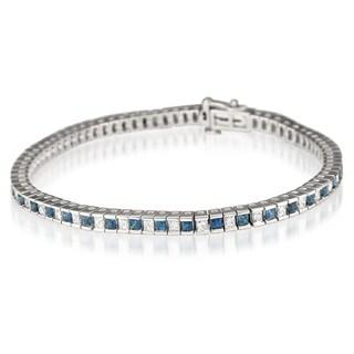 Montebello 14k White Gold Sapphire and 1 7/8ct TDW Diamond Bracelet (H-I, I1-I2)