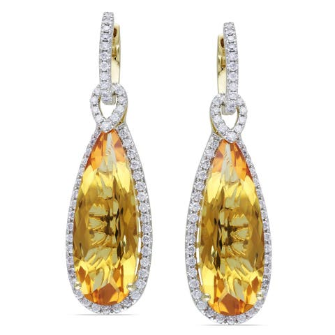Miadora Signature Collection 14k Yellow Gold Citrine and 1ct TDW Diamond Earrings (G-H, SI1-SI2)
