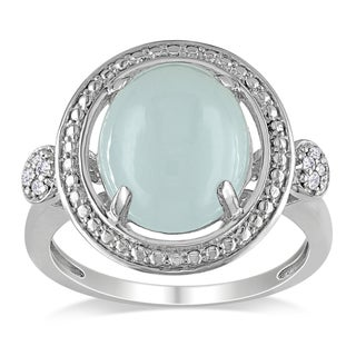 Miadora Sterling Silver 5ct TGW Milky Aquamarine Diamond Ring