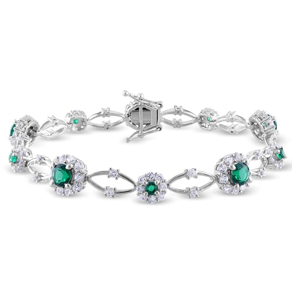Miadora Sterling Silver Emerald And White Shire Flower Bracelet