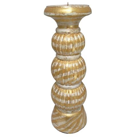 "Handmade 12"" Gold Wash Pillar Candlestick (Indonesia)"