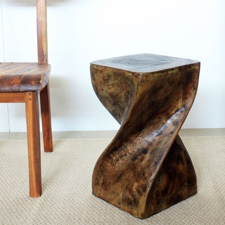 Handmade 12-Inches Square x 20 Inches High Mocha Oil Twist Stool (Thailand)