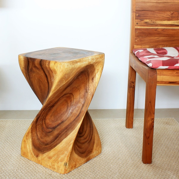 12-Inch Square x 20-Inch High Oak Oil Twist Stool (Thailand)