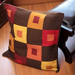 Handcrafted Alpaca Blend 'Square Riddles' Cushion Cover (Peru)