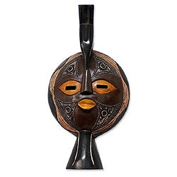 Handcrafted Sese Wood 'Valiant Woman' African Mask (Ghana)