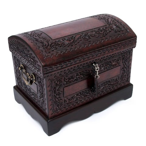 Handmade Colonial Treasure Chest with Bronze Lock Key and Handles Hand Tooled Leather and Mohena Wood Artisan Jewelry Box (Peru)
