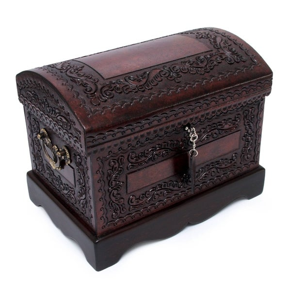 Handmade Colonial Treasure Chest with Bronze Lock Key and Handles Hand Tooled Leather and Mohena Wood Artisan Jewelry Box (Peru). Opens flyout.