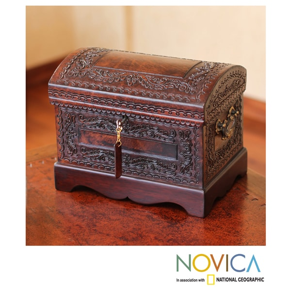 Colonial Treasure Chest with Bronze Lock Key and Handles Hand Tooled