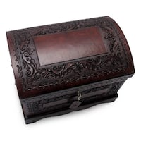 Colonial Treasure Chest with Bronze Lock Key and Handles Hand Tooled Leather and Mohena Wood Artisan Jewelry Box (Peru)