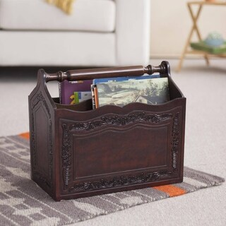 Gracious Home Brown Tooled Leather and Mohena Wood Two Compartment with Carrying Handle Decorator Accent Magazine Rack (Peru)