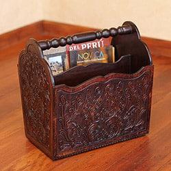 Mohena Wood and Leather 'Colonial Splendor' Magazine Rack , Handmade in Peru|https://ak1.ostkcdn.com/images/products/8009926/Mohena-Wood-and-Leather-Colonial-Splendor-Magazine-Rack-Peru-P15374634.jpg?impolicy=medium