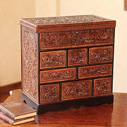 Travel Chest Decor Accent Mohena Wood Rich Brown Decor Hand Tooled Leather Handmade Artisan Keepsake Gift Jewelry Box (Peru)