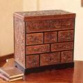 Travel Chest Decor Accent Mohena Wood Rich Brown Decor Hand Tooled Leather Handmade Artisan Keepsake Gift Jewelry Box (Peru)