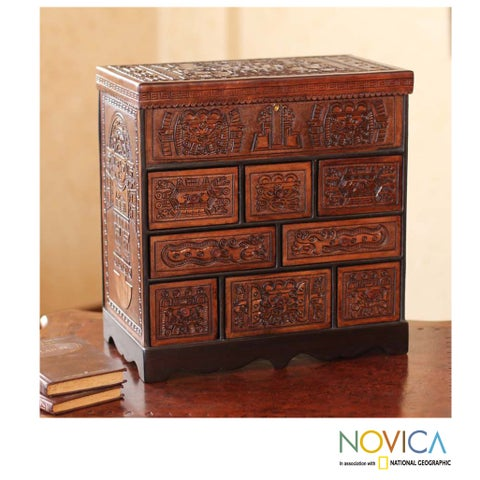 Handmade Ancient Legacy Chest Nine Compartments with Mirrored Lid Hand Tooled Leather and Mohena Wood Artisan Jewelry Box (Peru)