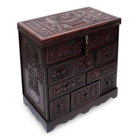 "Handmade Ancient Legacy Chest with Mirror Jewelry Box (Peru) - 15.75"" x 16.25"""