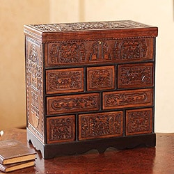 Ancient Legacy Chest Nine Compartments with Mirrored Lid Hand Tooled Leather and Mohena Wood Artisan Jewelry Box (Peru)