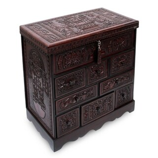 Handmade Ancient Legacy Chest with Mirror Jewelry Box (Peru)