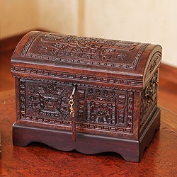 Handmade Mohena Wood and Leather 'Inca Domain' Jewelry Box (Peru)